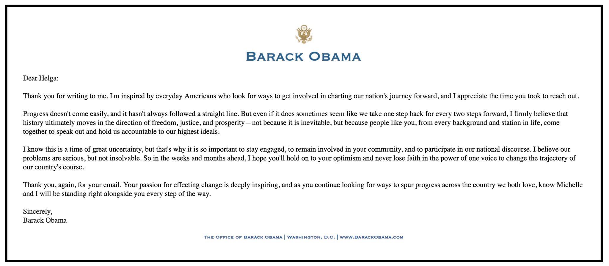 Letter from Barack Obama